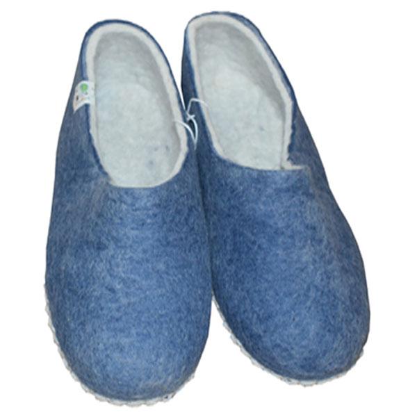 chaussons laine bleu