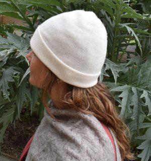 bonnet blanc cachemire