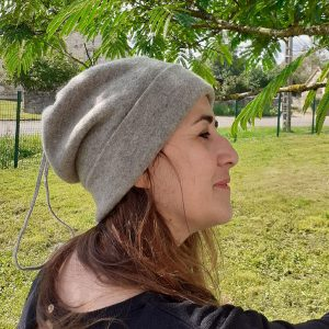 bonnet gris laine femme