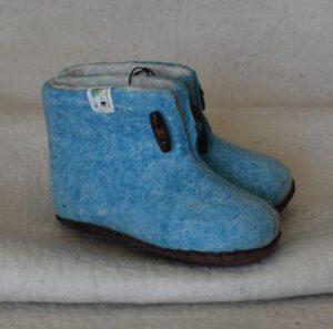chaussons enfant bleu pétrole