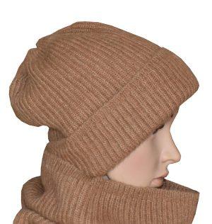 bonnet en laine chameau