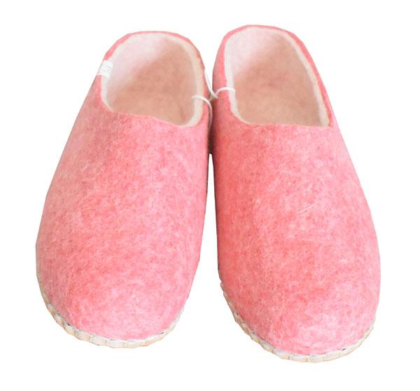 chaussons rose en laine