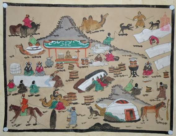 « mongoliin neg ödör » (un jour en Mongolie) de l'artiste mongol Baldugiin 'Marzan' Sharav (1869-1939)